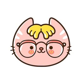 Nettes lustiges kleines nerdbaby-katzengesicht mit brille. vektor handgezeichnete cartoon kawaii charakter illustration logo symbol. isoliert auf weißem hintergrund. haustier, nerd-kätzchen, geek-katzen-symbolkonzept