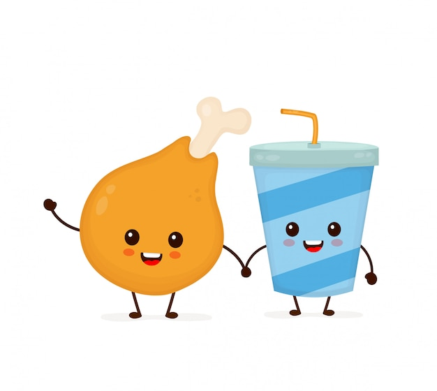 Nettes lustiges lächelndes glückliches hühnerbein und sodawasserschale. flache cartoon charakter abbildung symbol. lokalisiert auf weiß. schnellimbiß, café scherzt menü, hühnerbein und getränkeschale