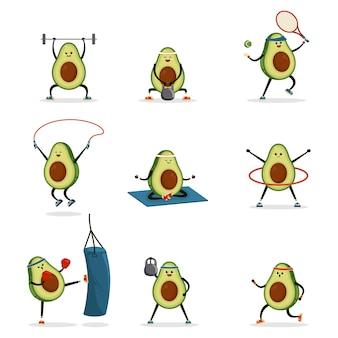 Nettes lustiges lächelndes glückliches starkes avocado-gesundheits-, fitness-, fit-set. kawaii avocado athleten, tennis spielen, yoga machen.