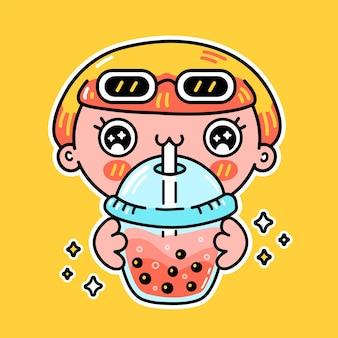 Nettes lustiges mädchen trinken blasentee aus der tasse. vektor handgezeichnete cartoon kawaii charakter illustration aufkleber logo symbol. asiatische boba, frau und bubble tea trinken cartoon-charakter-plakatkonzept