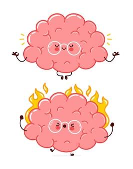 Nettes lustiges menschliches gehirnorgan brennt und meditiert charakter.