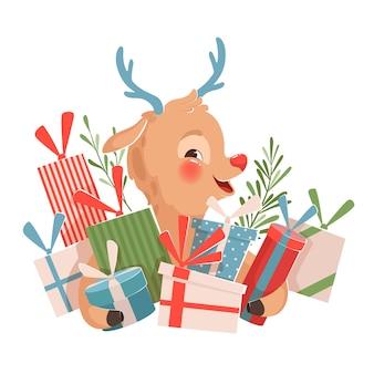 Nettes lustiges weihnachtsrentier mit blauen hörnern, die geschenke halten und lächeln. weihnachtsillustration auf einem weißen hintergrund