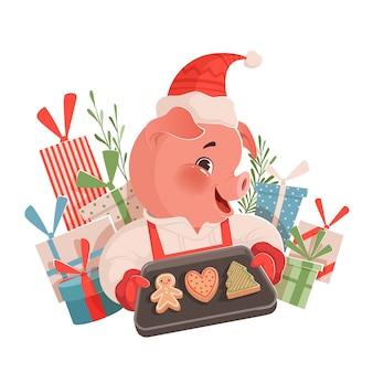 Nettes lustiges weihnachtsschwein, das ein backblech mit keksen hält und neben den geschenken lächelt. weihnachtsillustration auf einem weißen hintergrund