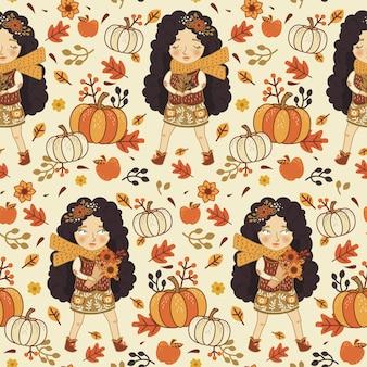 Nettes Mädchen mit Kürbis im nahtlosen Muster des Herbstes