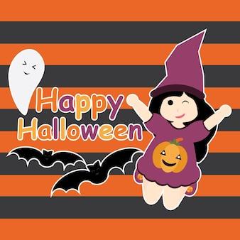Nettes mädchen als hexe, fledermaus und geist-vektor karikatur, halloween-postkarte, tapete und grußkarte, t-shirt entwurf für kinder