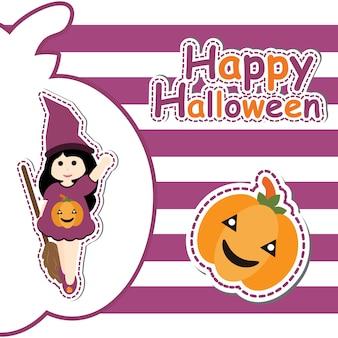 Nettes mädchen als hexe und kürbis auf gestreiften hintergrund vektor-cartoon, halloween postkarte, tapete und grußkarte, t-shirt design für kinder