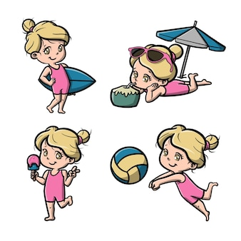 Nettes mädchen am strand-cartoon