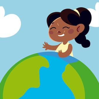 Nettes mädchen auf weltkartenkarikatur, kinderillustration