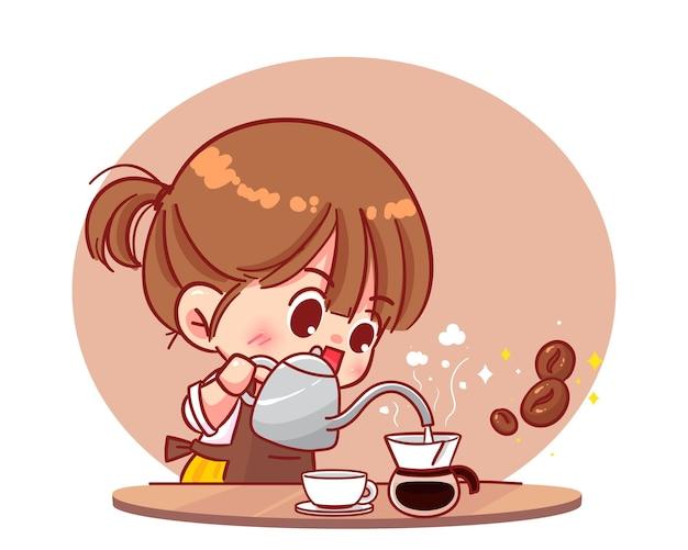 Nettes mädchen barista, das kaffee-handbrauen-tropfkaffee und zubehörkarikatur-kunstillustration macht