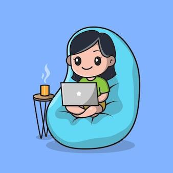 Nettes mädchen, das an laptop-karikatur arbeitet