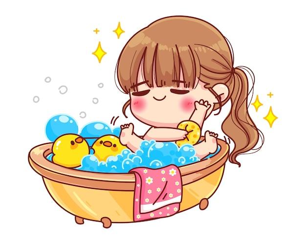 Nettes mädchen, das bad mit entenspielzeug und blasenkarikaturillustration nimmt