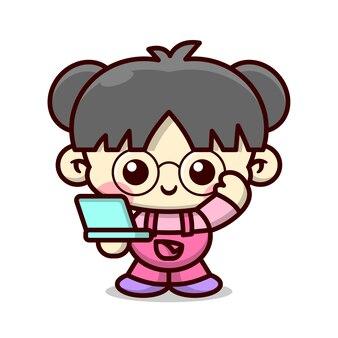 Nettes mädchen, das brille trägt und einen blauen laptop hochwertiges cartoon-maskottchen-design mitbringt
