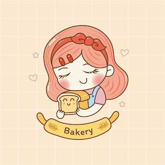 Nettes mädchen, das brotbäckerei-logokarikaturhandabgehobener betrag hält