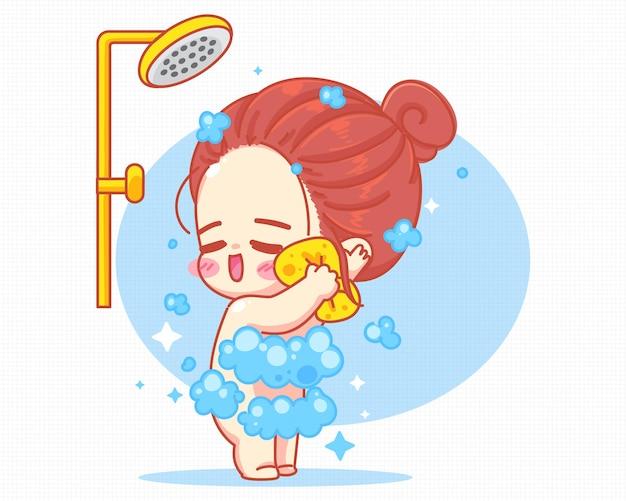 Nettes mädchen, das dusche im badezimmer nimmt