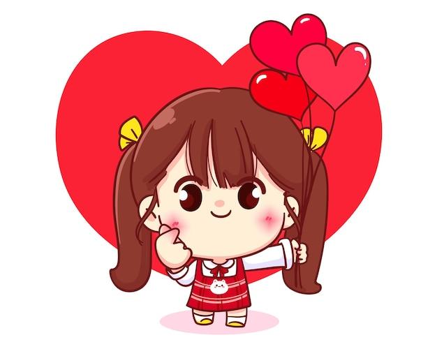 Nettes mädchen, das ein herz mit ihren händen, glücklichem valentinstag, karikaturcharakterillustration macht