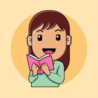 Nettes mädchen, das eine buchkarikaturillustration liest
