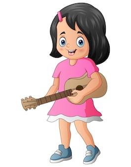 Nettes mädchen, das eine gitarre hält und spielt
