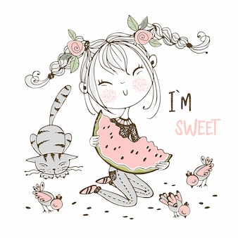 Nettes mädchen, das eine saftige wassermelone, eine folgende katze und vögel isst. doodle-stil.
