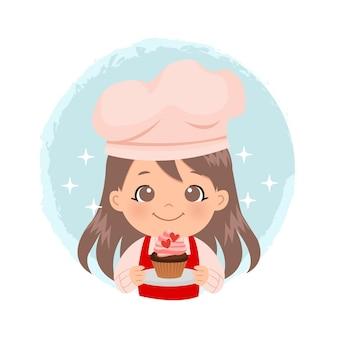 Nettes mädchen, das einen cupcake hält, der mit schlagsahne verziert wird. valentinstag aktivität. flacher stil-cartoon des bäckerei-geschäftslogos.