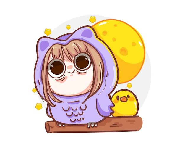 Nettes mädchen, das eulenmaskottchenkostüm trägt und nachts schlaflos mit schlaflosigkeitskonzept lokalisiert.