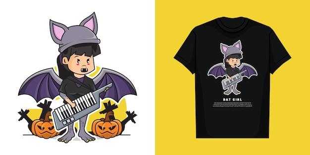 Nettes mädchen, das fledermauskostüm trägt, das gitarrentastatur-klavier mit t-shirt-modellentwurf spielt