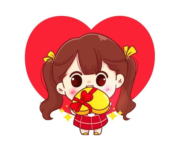 Nettes mädchen, das geschenk, glücklichen valentinstag, karikaturfigurillustration gibt