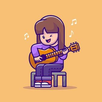 Nettes mädchen, das gitarre cartoon vector illustration spielt.