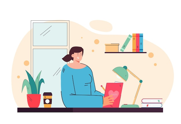 Nettes mädchen, das im tagebuch schreibt und am schreibtisch flache illustration sitzt
