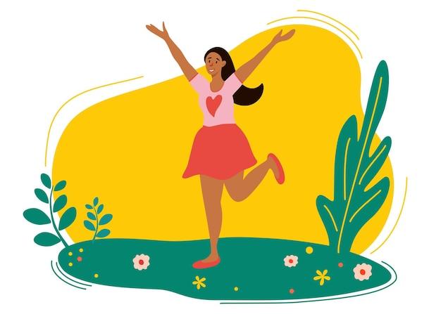 Nettes mädchen, das in die frühlingswiese springt. webseiten-designvorlagen für beauty, spa, wellness, naturprodukte, kosmetik, körperpflege. flaches vektordesign
