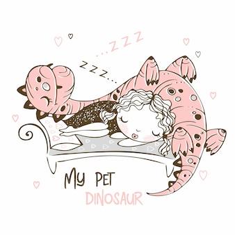 Nettes mädchen, das mit ihrem haustierdinosaurier schläft. fröhliches bild.