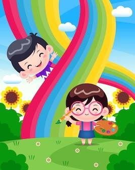 Nettes mädchen, das regenbogen mit glücklichem jungen malt