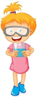 Nettes mädchen, das schutzbrille hält, die schutzbrille hält