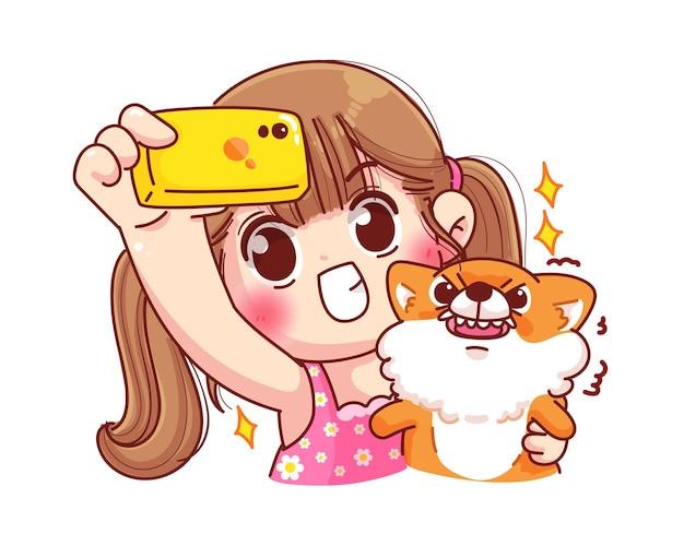 Nettes mädchen, das selfie mit ihrer hundekarikaturillustration macht