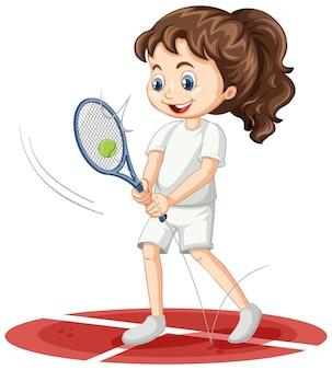 Nettes mädchen, das tennis-cartoon-figur isoliert spielt