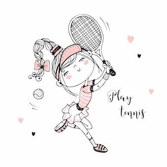 Nettes mädchen, das tennis spielt. illustration