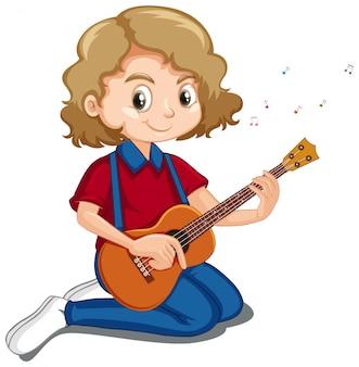 Nettes mädchen, das ukulele auf weiß spielt