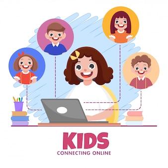 Nettes mädchen, das videoanruf zu klassenkameradenfreunden im laptop auf abstraktem hintergrund für kinder hat, die sich online verbinden.