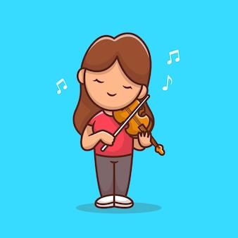 Nettes mädchen, das violine cartoon illustration spielt. people music icon konzept