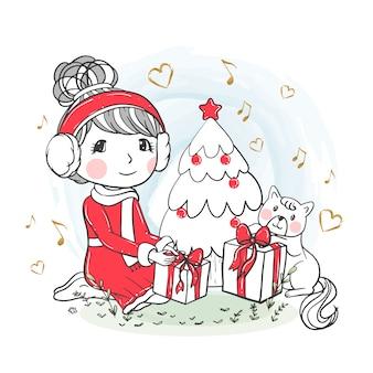 Nettes mädchen, das weihnachtsgeschenke mit gezeichneter katzenillustration öffnet