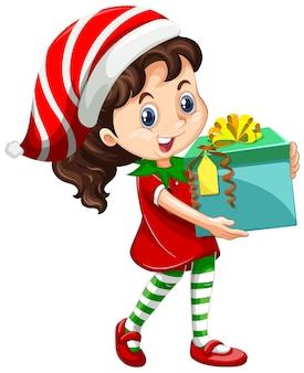 Nettes mädchen, das weihnachtskostümkarikaturfigur trägt