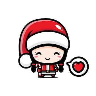 Santa Claus Mädchen Frohe Weihnachten Kawaii Stil Premium Vektor