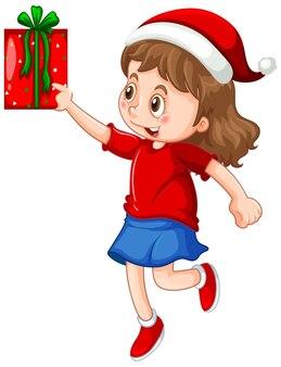 Nettes mädchen, das weihnachtsmütze trägt und eine geschenkbox auf weiß hält
