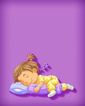 Nettes mädchen, das zeichentrickfigur schläft