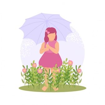 Nettes mädchen des frühlinges, das blume mit regenschirm spielt