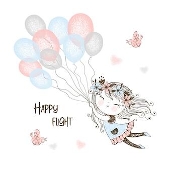 Nettes mädchen fliegende luftballons. vektor