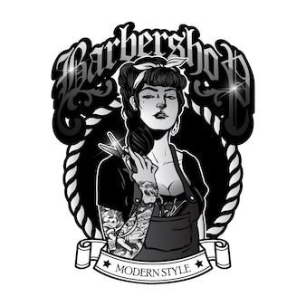 Nettes mädchen friseursalon-logo