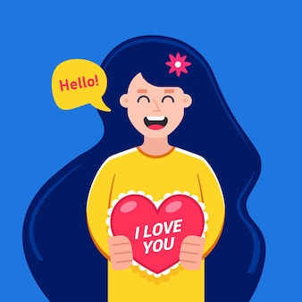 Nettes mädchen gibt einen valentinsgruß für einen feiertag. flache charaktervektorillustration.
