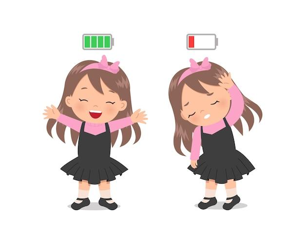 Nettes mädchen glücklich und müde mit batterieanzeige hoch und niedrig. flacher cartoon lokalisiert auf weiß