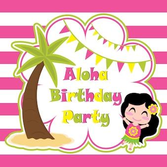 Nettes mädchen ia glücklich in aloha partei-vektorkarikatur, geburtstags-postkarte, tapete und grußkarte, t-shirt entwurf für kinder