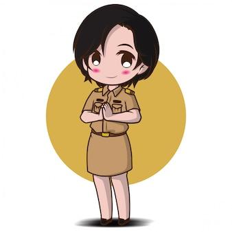 Nettes mädchen im thailändischen regierungskostüm., jobkonzept.